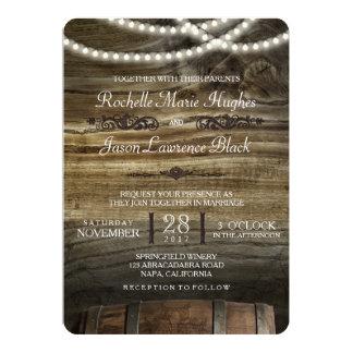 Rustikale Weinkellerei-Hochzeits-Einladung Karte