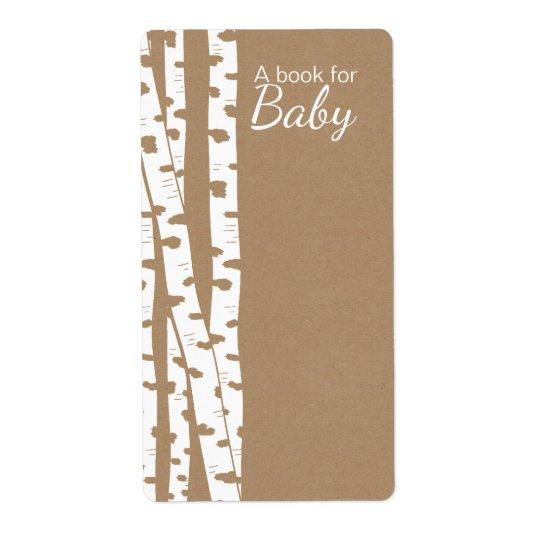 Rustikale weiße Birken-Baum-Baby-Buch-Umbauten Versandetikett