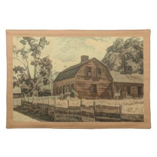 Rustikale Western-Land-Bauernhauschic-Rot-Scheune Stofftischset