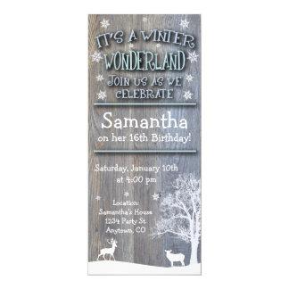 Rustikale Winter-Märchenland-Geburtstags-Einladung Karte