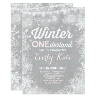Rustikale Winter ONEderland Geburtstags-Einladung Karte