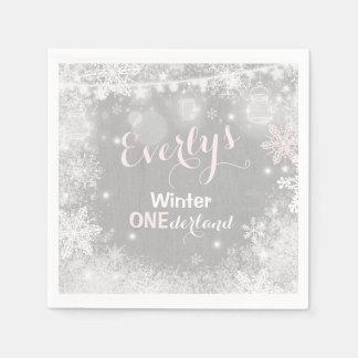 Rustikale Winter ONEderland Party-Serviette Papierserviette