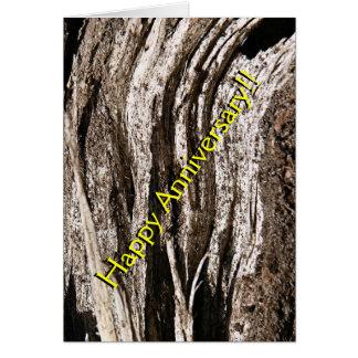 Rustikale Woodgrain-Jahrestags-Karte Karte