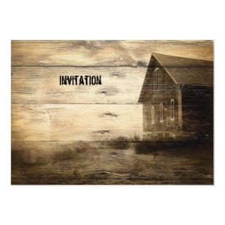 rustikale Woodgrain-Western-Land-Party Einladungen 12,7 X 17,8 Cm Einladungskarte