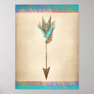 Rustikaler böhmischer mit Blumenpfeil Poster