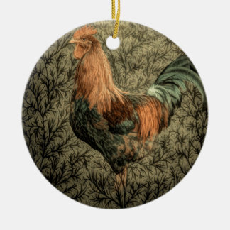 Rustikaler Hahn des ursprünglichen Rundes Keramik Ornament