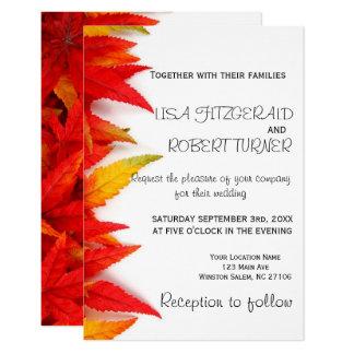 Rustikaler Herbst verlässt Hochzeit im 8,9 X 12,7 Cm Einladungskarte