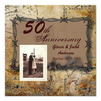rustikaler Hochzeitsjahrestag des Westernlandes Quadratische 13,3 Cm Einladungskarte