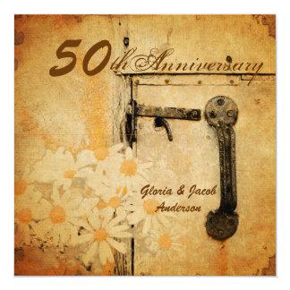 rustikaler Hochzeitstag des Landgänseblümchens 50. Quadratische 13,3 Cm Einladungskarte