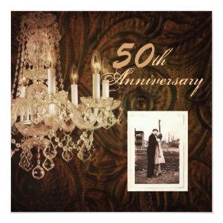 rustikaler Hochzeitstag des Landleuchters 50. Quadratische 13,3 Cm Einladungskarte
