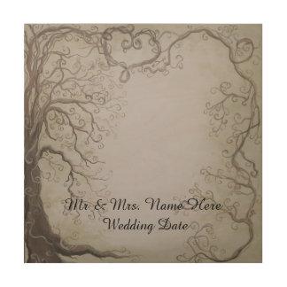 Rustikaler hölzerner Hochzeitguestbook-Baum und Holzdruck