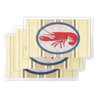 Rustikaler Hummer-Vintages rotes weißes blaues See Acryl Tablett