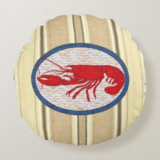 Rustikaler Hummer-Vintages rotes weißes blaues See Rundes Kissen