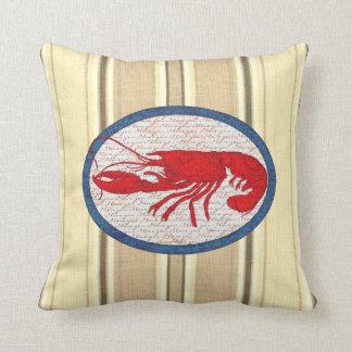 Rustikaler Hummer-Vintages rotes weißes blaues See Zierkissen