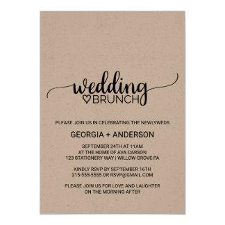 Rustikaler Kalligraphie-Hochzeits-Brunch 12,7 X 17,8 Cm Einladungskarte