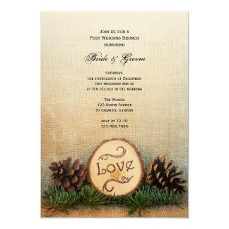 Rustikaler Kiefern-Waldposten-Hochzeits-Brunch 12,7 X 17,8 Cm Einladungskarte