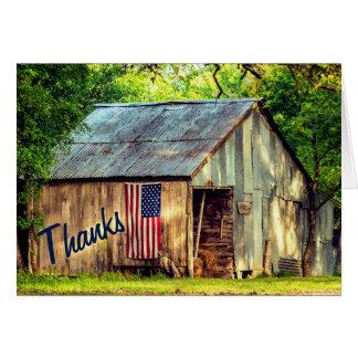 Rustikaler Land-Scheunen-Flagge-Dank dankt Ihnen Mitteilungskarte