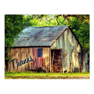 Rustikaler Land-Scheunen-Flagge-Dank dankt Ihnen Postkarte