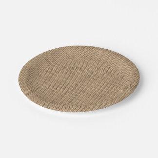Rustikaler Leinwand-Effekt-Pappteller Pappteller 17,8 Cm
