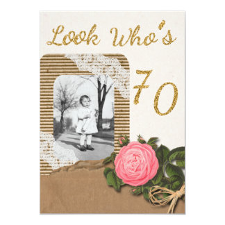 Rustikaler Leinwand-und Spitze-Rosen-70. 12,7 X 17,8 Cm Einladungskarte