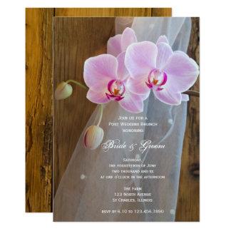Rustikaler Orchideen-Land-Posten-Hochzeits-Brunch 12,7 X 17,8 Cm Einladungskarte