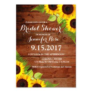 Rustikaler Sonnenblume-Farn-hölzernes Brautparty 11,4 X 15,9 Cm Einladungskarte