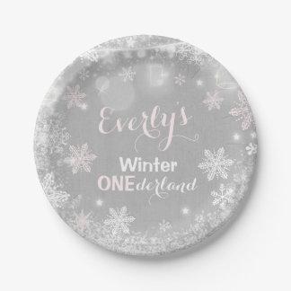 """Rustikaler Winter ONEderland Pappteller 7"""" Platte"""