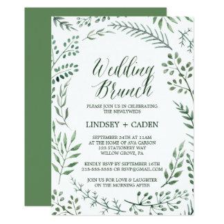 Rustikaler Wreath mit Grün verlässt HochzeitBrunch 12,7 X 17,8 Cm Einladungskarte
