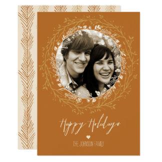 Rustikaler Wreath u. Skript auf Goldfeiertags-Foto Karte