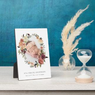 Rustikales Blüten-Baby-Foto Fotoplatte
