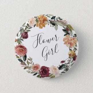 Rustikales Blüten-Blumen-Mädchen Runder Button 5,1 Cm