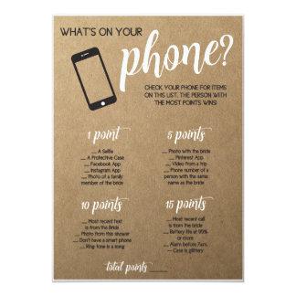 Rustikales Brautparty-Spiel, was in Ihrem Telefon 12,7 X 17,8 Cm Einladungskarte