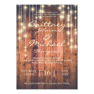Rustikales Brown-Holz u. Wedding Einladung der