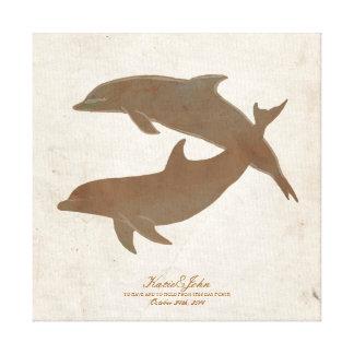 Rustikales Delphin-Strand-Hochzeits-Gast-Buch Leinwand Druck