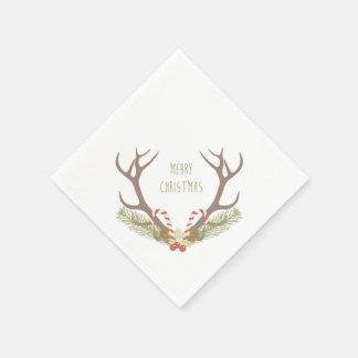 Rustikales Geweih des Weihnachten| u. Papierservietten