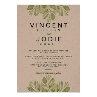 Rustikales Grün verlässt | Watercolor-Hochzeit 12,7 X 17,8 Cm Einladungskarte