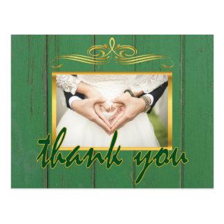 Rustikales grünes Holz dankt Ihnen Goldrahmen-Foto Postkarte