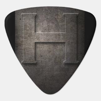 Rustikales H Monogramm-Plektrum des schwarzes Plek