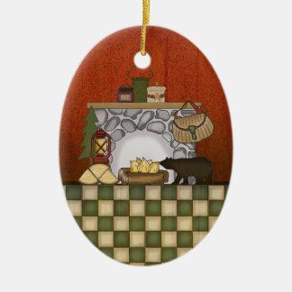 Rustikales Häuschen-Land-Kabinen-Weihnachten mit Ovales Keramik Ornament