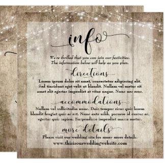 Rustikales hellbraunes Holz mit Lichtern, Wedding Karte