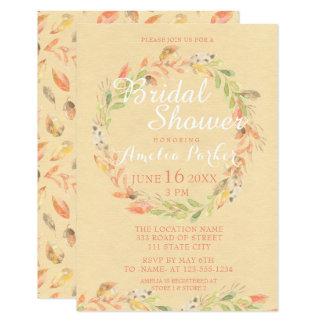 Rustikales Herbst-Blumenwatercolor-Brautparty Karte