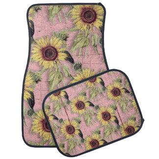Rustikales Herbst-Sonnenblume-Muster Autofußmatte