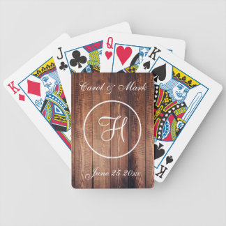 Rustikales Hochzeits-Datum und Initiale Bicycle Spielkarten