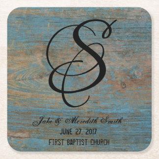 Rustikales Hochzeits-Monogramm getragene Rechteckiger Pappuntersetzer