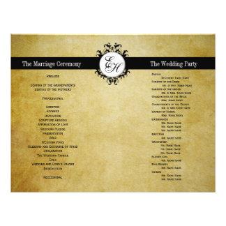 Rustikales Hochzeits-Programm-Vintages Monogramm Flyer
