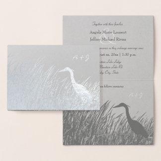 Rustikales Hochzeitssilber der Reiher-Silhouette Folienkarte