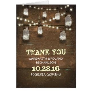 rustikales Holz des Licht-Weckglases dankt Ihnen Karte