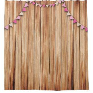 Rustikales Holz mit Rosa u. Brown-Flaggen-Dusche Duschvorhang