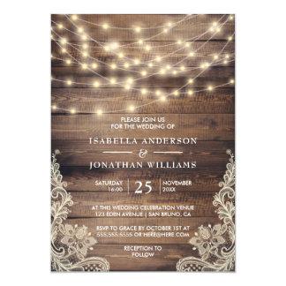 Rustikales Holz u. Vintage Spitze-Hochzeit der 12,7 X 17,8 Cm Einladungskarte