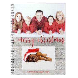 Rustikales hölzernes frohe Weihnacht-Foto - Spiral Notizblock